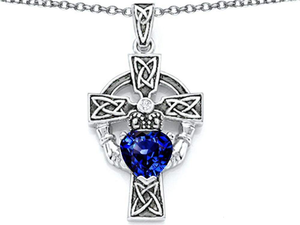 Star K Claddagh Cross Pendant Necklace with 7mm Heart-Shape Created Sapphire Sterling Silver