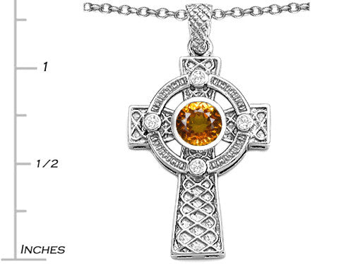 Star K Celtic Cross Pendant Necklace with 7mm Round Genuine Citrine Sterling Silver