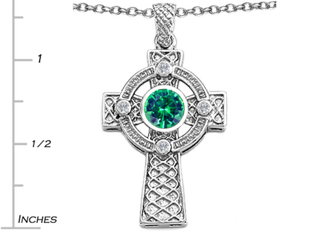 Star K Celtic Cross Pendant Necklace with 7mm Round Simulated Emerald Sterling Silver