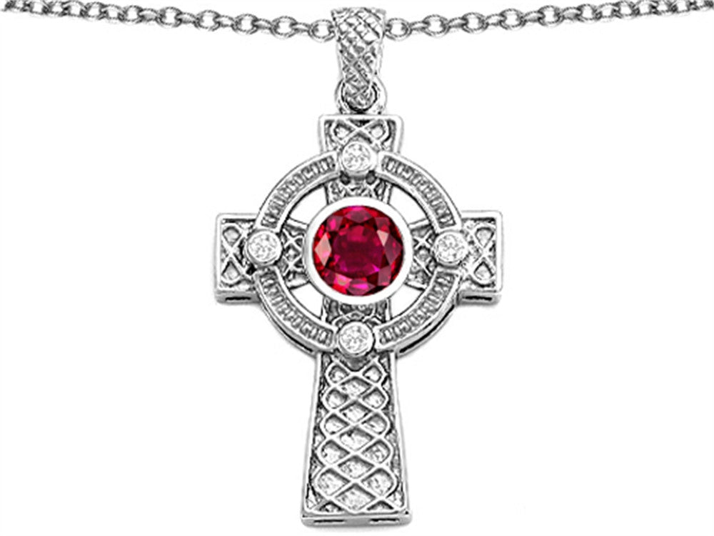 Star K Celtic Cross Pendant Necklace with 7mm Round Created Ruby Sterling Silver