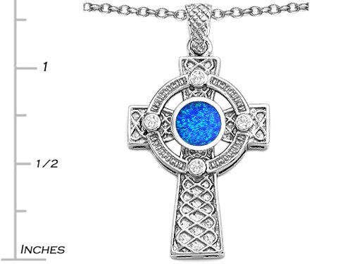 Star K Celtic Cross Pendant Necklace with 7mm Round Blue Created Opal Sterling Silver