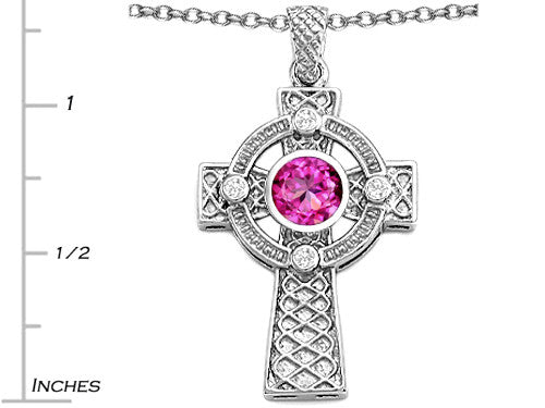 Star K Celtic Cross Pendant Necklace with 7mm Round Created Pink Sapphire Sterling Silver