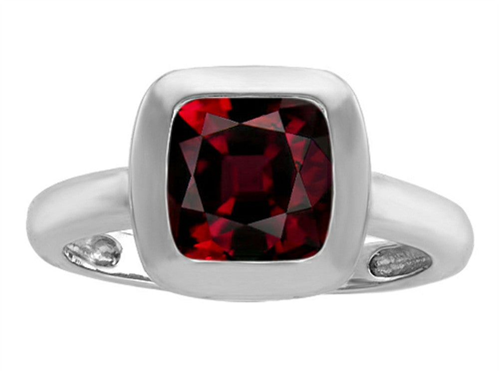 Star K 8mm Cushion-Cut Solitaire Ring with Simulated Garnet Sterling Silver Size 8
