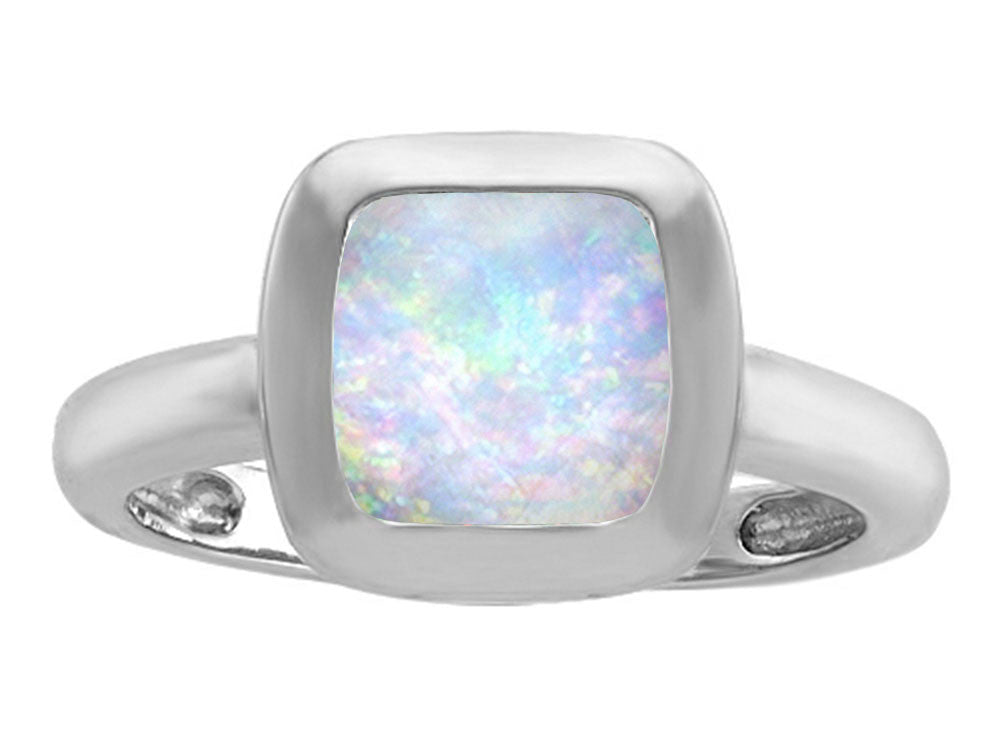 Star K 8mm Cushion-Cut Solitaire Ring with Simulated Opal Sterling Silver Size 8