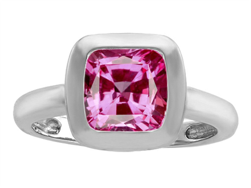 Star K 8mm Cushion-Cut Solitaire Ring with Created Pink Sapphire Sterling Silver Size 8