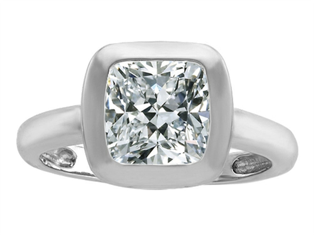 Star K 8mm Cushion-Cut Solitaire Ring with Genuine White Topaz Sterling Silver Size 8