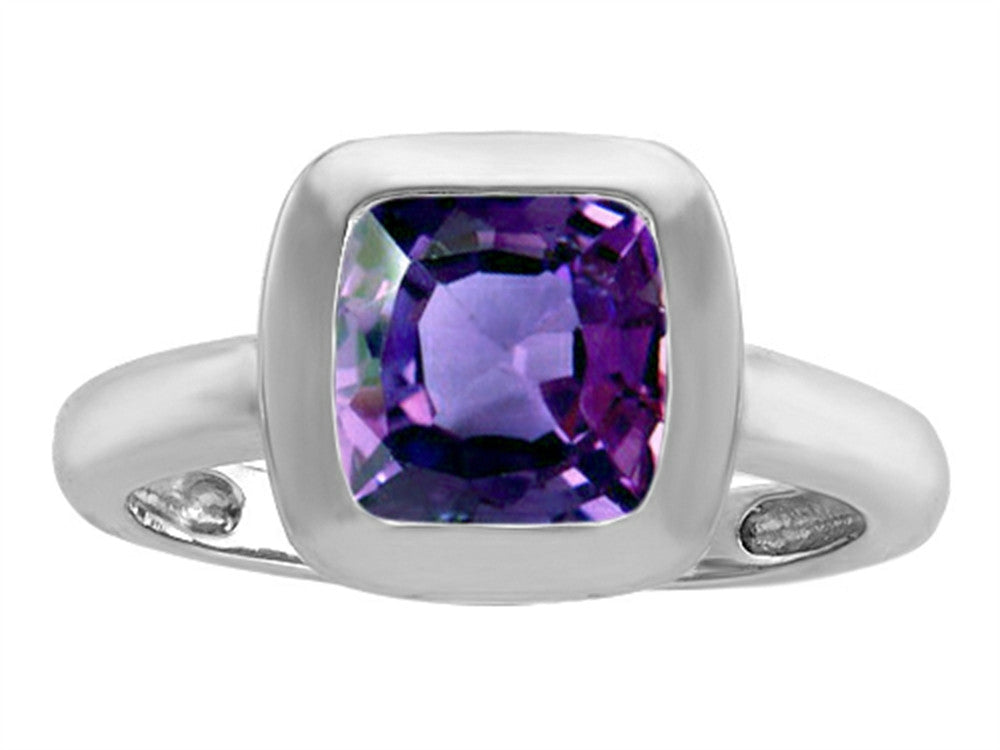 Star K 8mm Cushion-Cut Solitaire Ring with Simulated Alexandrite Sterling Silver Size 8