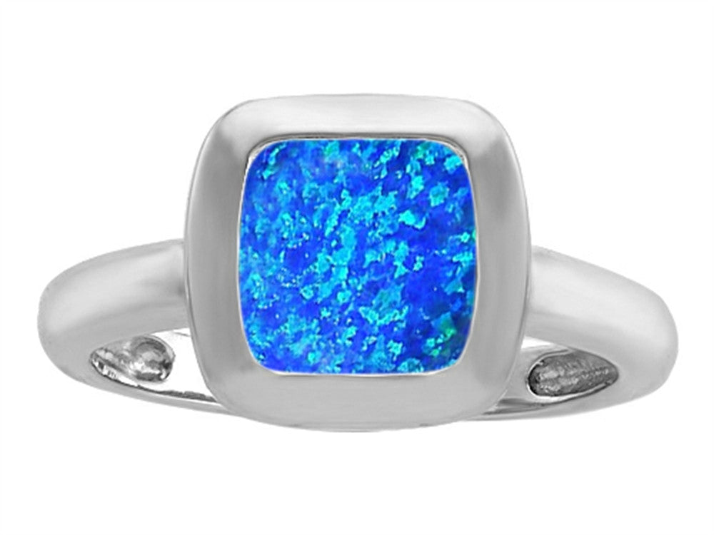 Star K 8mm Cushion-Cut Solitaire Ring with Simulated Blue Opal Sterling Silver Size 8