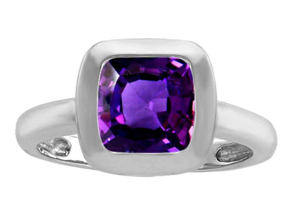 Star K 8mm Cushion-Cut Solitaire Ring with Simulated Amethyst Sterling Silver Size 8