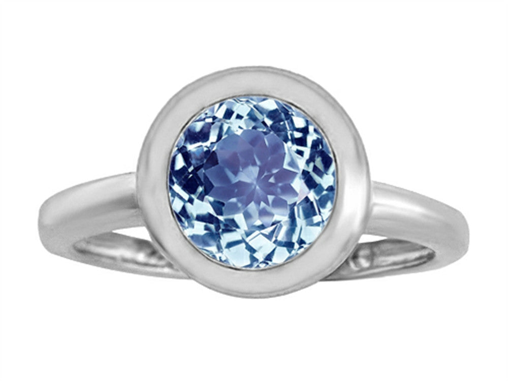 Star K 8mm Round Solitaire Ring with Simulated Aquamarine Sterling Silver Size 8