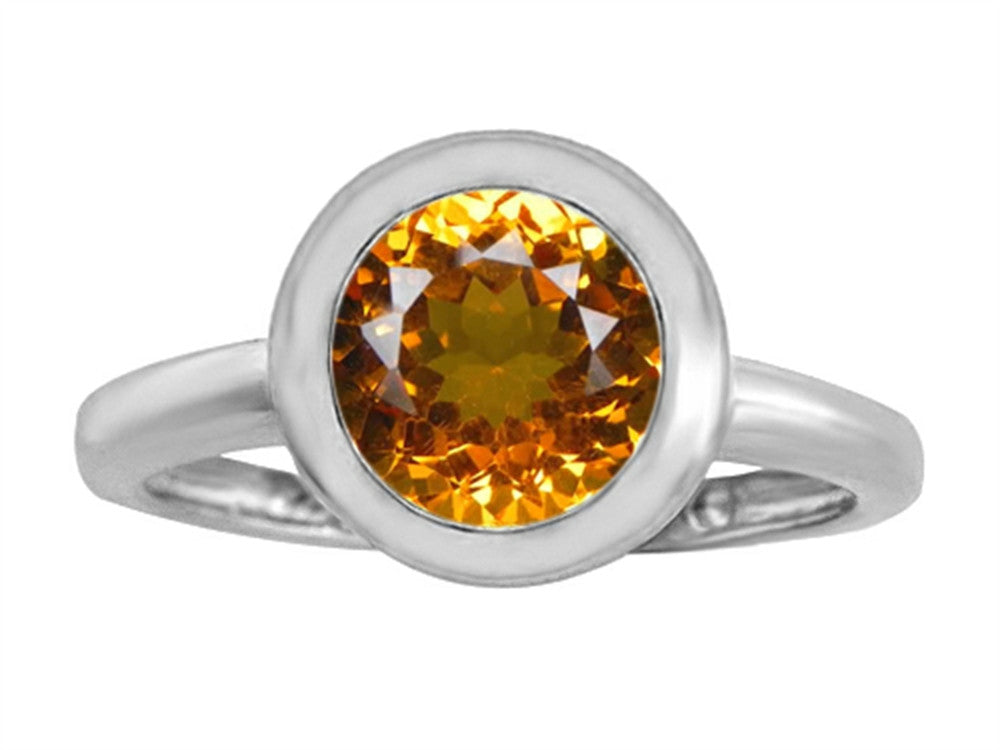 Star K 8mm Round Solitaire Ring with Simulated Citrine Sterling Silver Size 8