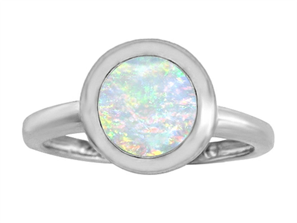 Star K 8mm Round Solitaire Ring with Simulated Opal Sterling Silver Size 8