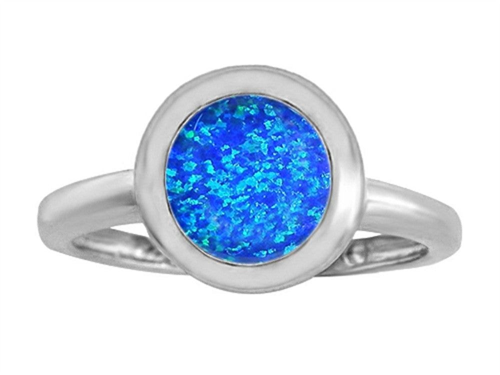 Star K 8mm Round Solitaire Ring with Simulated Blue Opal Sterling Silver Size 8