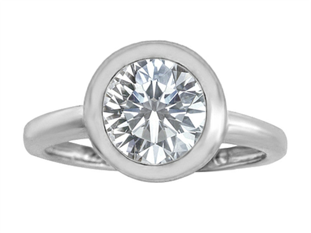 Star K 8mm Round Solitaire Ring with Genuine White Topaz Sterling Silver Size 8