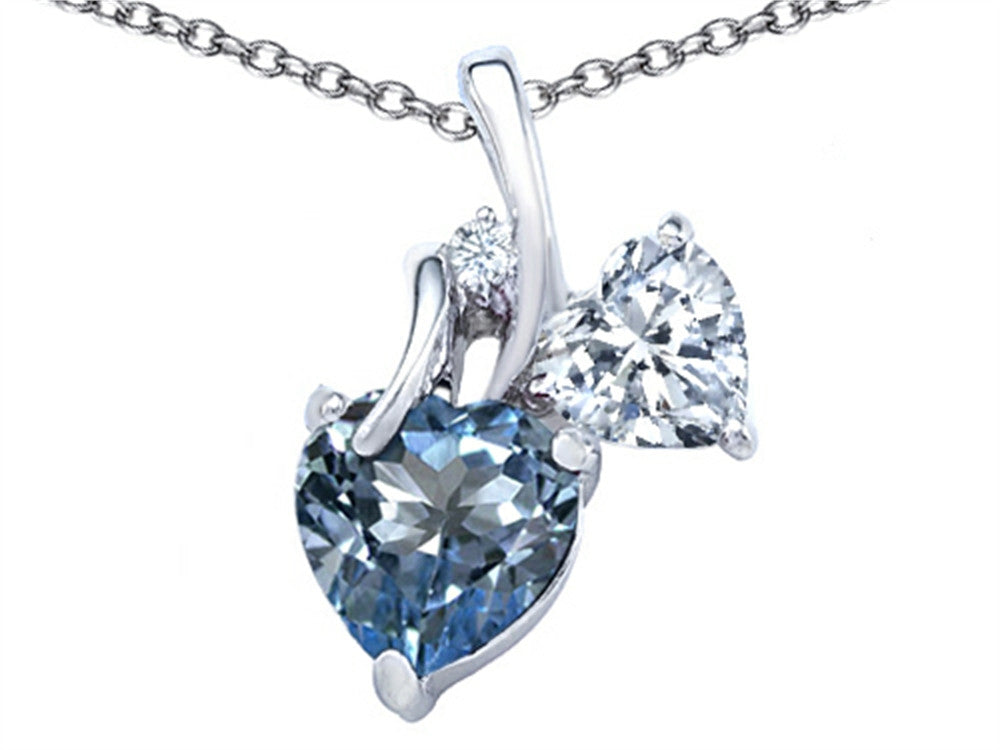 Star K 8mm Heart-Shape Simulated Aquamarine Double Hearts Pendant Necklace Sterling Silver