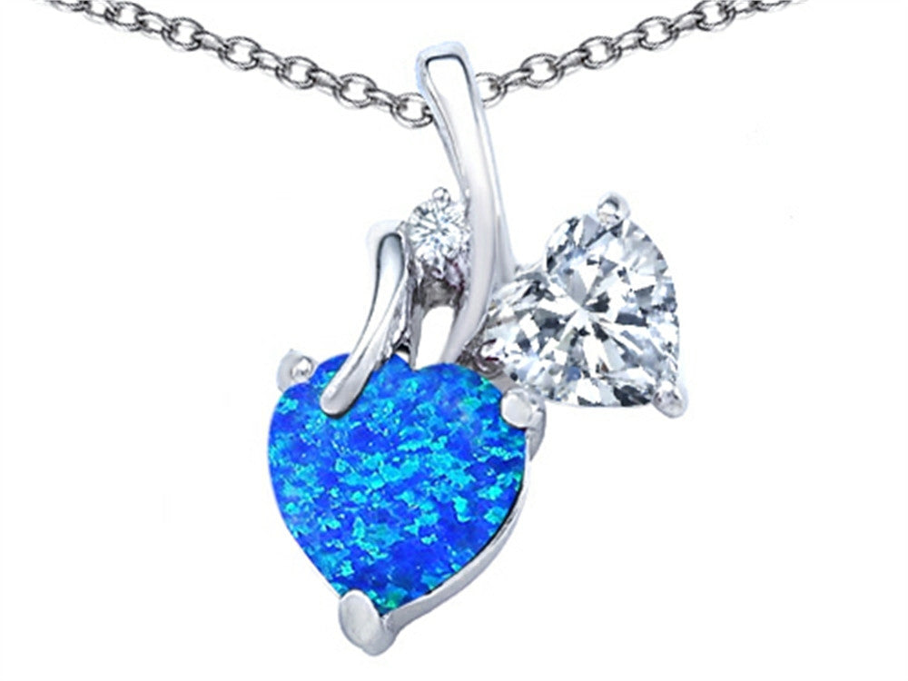Star K 8mm Heart-Shape Blue Created Opal Double Hearts Pendant Necklace Sterling Silver