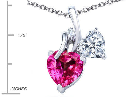 Star K 8mm Heart-Shape Created Pink Sapphire Double Hearts Pendant Necklace Sterling Silver