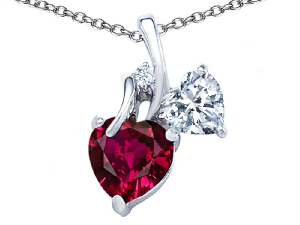 Star K 8mm Heart-Shape Created Ruby Double Hearts Pendant Necklace Sterling Silver