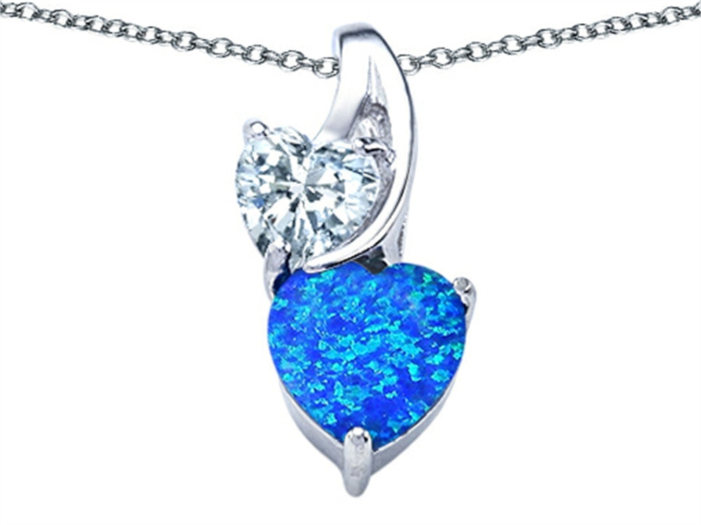 Star K 8mm Heart-Shape Simulated Blue Opal Double Hearts Pendant Necklace Sterling Silver