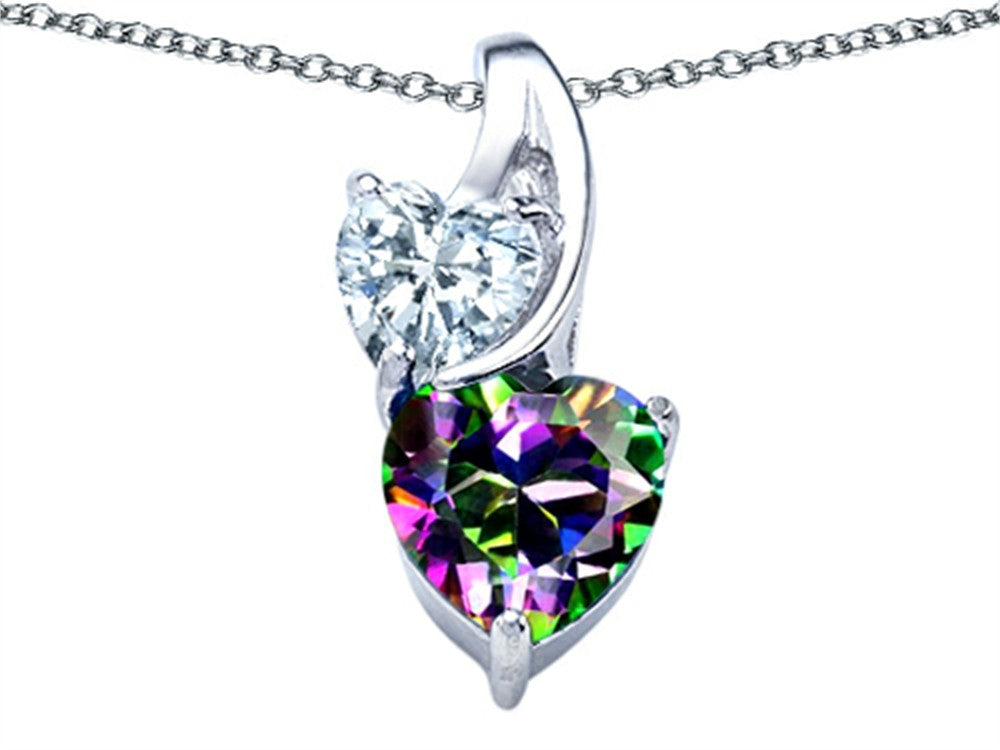 Star K 8mm Heart-Shape Mystic Topaz Double Hearts Pendant Necklace Sterling Silver