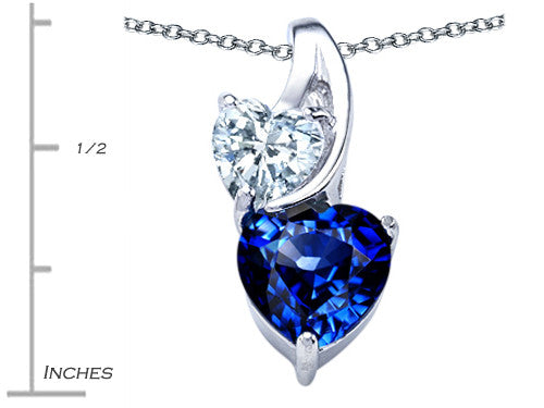 Star K 8mm Heart-Shape Created Sapphire Double Hearts Pendant Necklace Sterling Silver