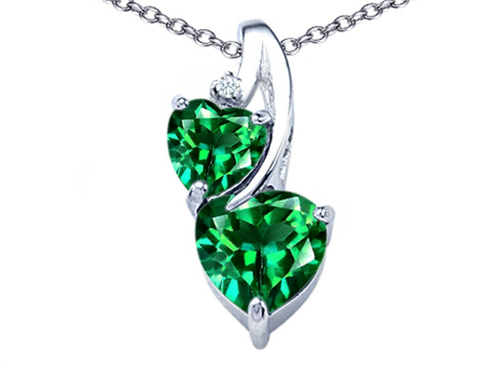 Star K 8mm Heart-Shape Simulated Emerald Double Hearts Pendant Necklace Sterling Silver