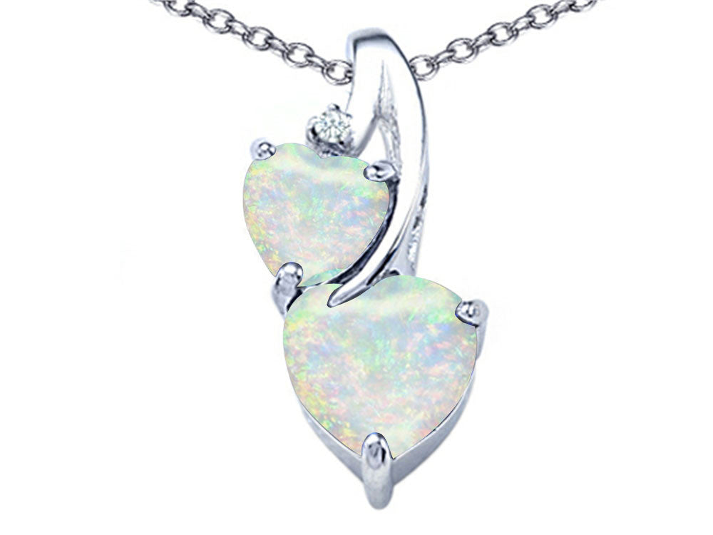 Star K 8mm Heart-Shape Created Opal Double Hearts Pendant Necklace Sterling Silver
