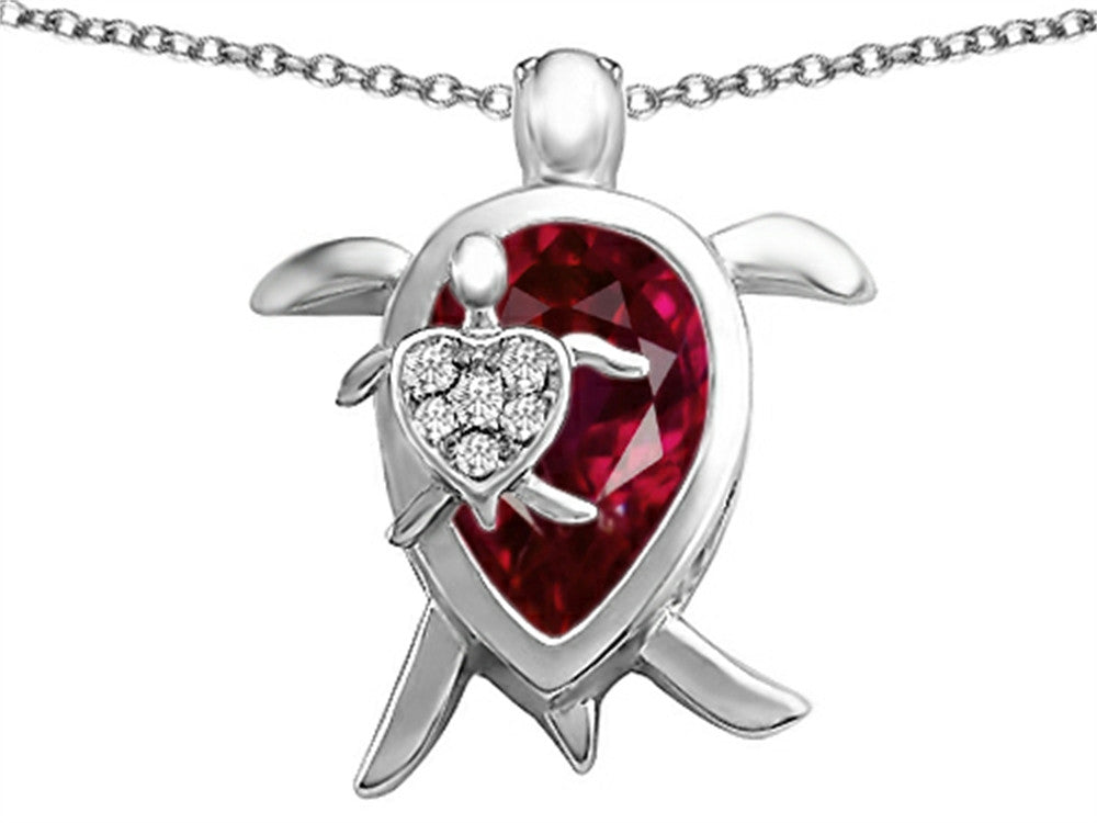 Star K Mother and Baby Turtle family Pendant Necklace with 12x8mm Pear Shape Created Ruby Sterling Silver