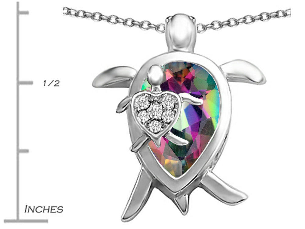 Star K Mother and Baby Turtle family Pendant Necklace with 12x8mm Pear Shape Mystic Topaz Sterling Silver