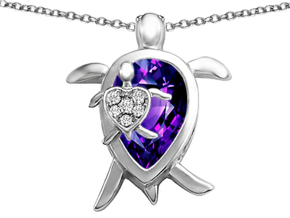 Star K Mother and Baby Turtle family Pendant Necklace Pear-Shape Simulated Amethyst Sterling Silver