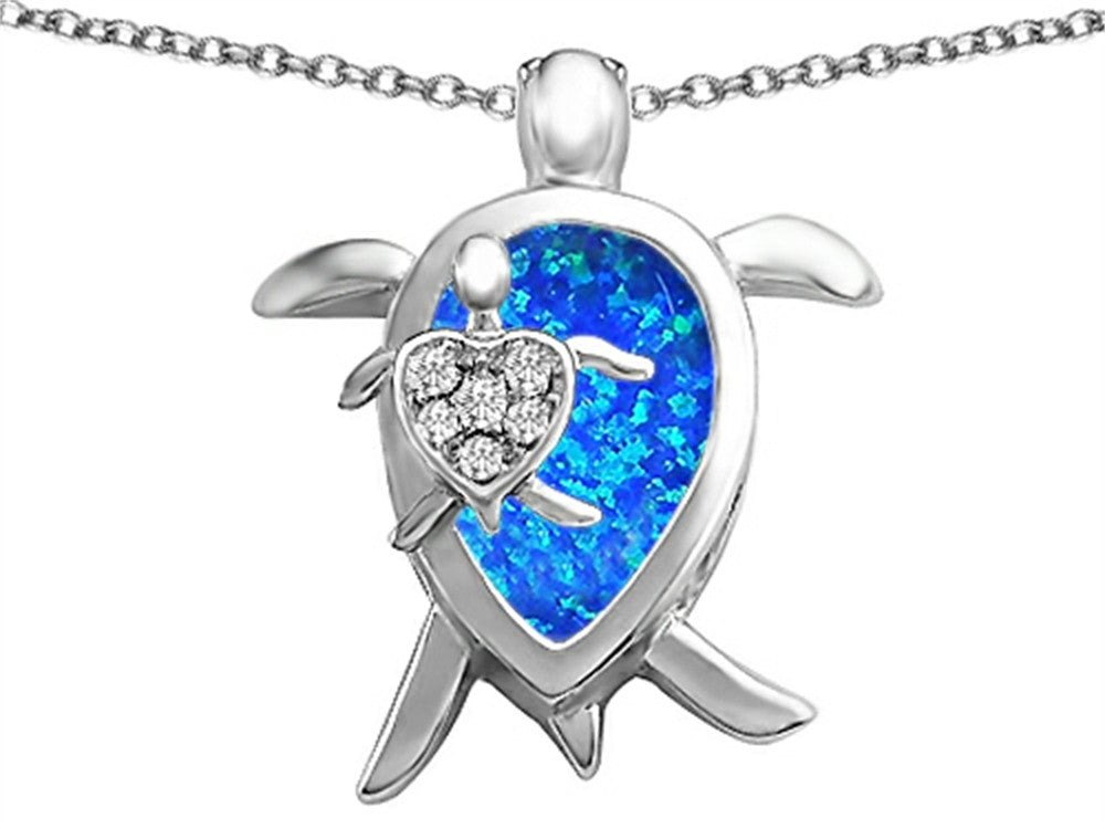 Star K Mother and Baby Turtle family Pendant Necklace Pear Shape Blue Created Opal and Cubic Zirconia Sterling Silver
