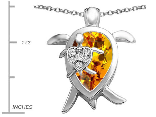 Star K Mother and Baby Turtle family Pendant Necklace with 12x8mm Pear Shape Simulated Citrine Sterling Silver
