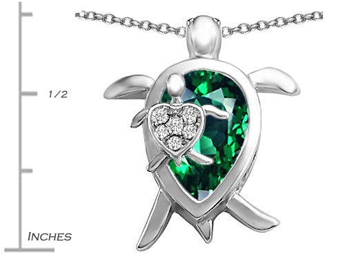 Star K Mother and Baby Turtle family Pendant Necklace with 12x8mm Pear Shape Simulated Emerald Sterling Silver