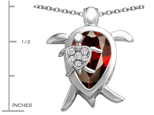 Star K Mother and Baby Turtle family Pendant Necklace with 12x8mm Pear Shape Simulated Garnet Sterling Silver