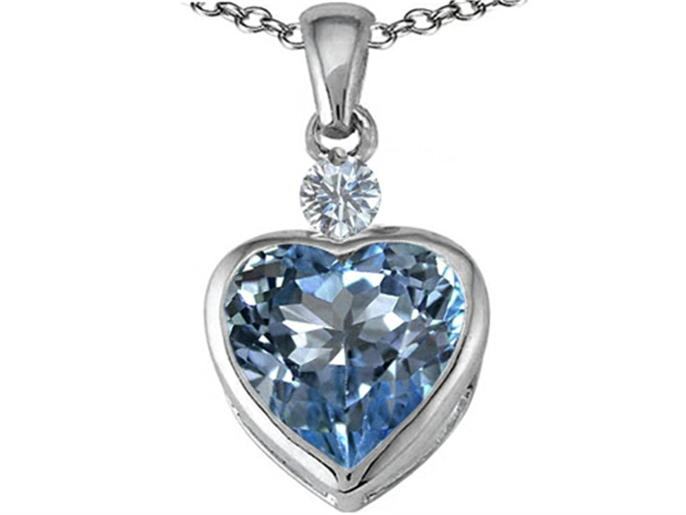 Star K 10mm Heart-Shape Simulated Aquamarine Heart Pendant Necklace Sterling Silver