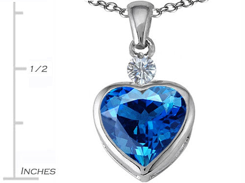 Star K 10mm Heart-Shape Simulated Blue-Topaz Heart Pendant Necklace Sterling Silver