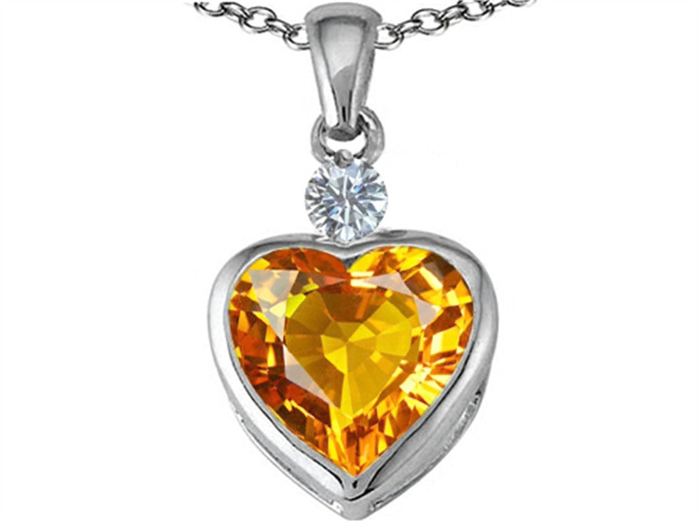Star K 10mm Heart-Shape Simulated Citrine Heart Pendant Necklace Sterling Silver