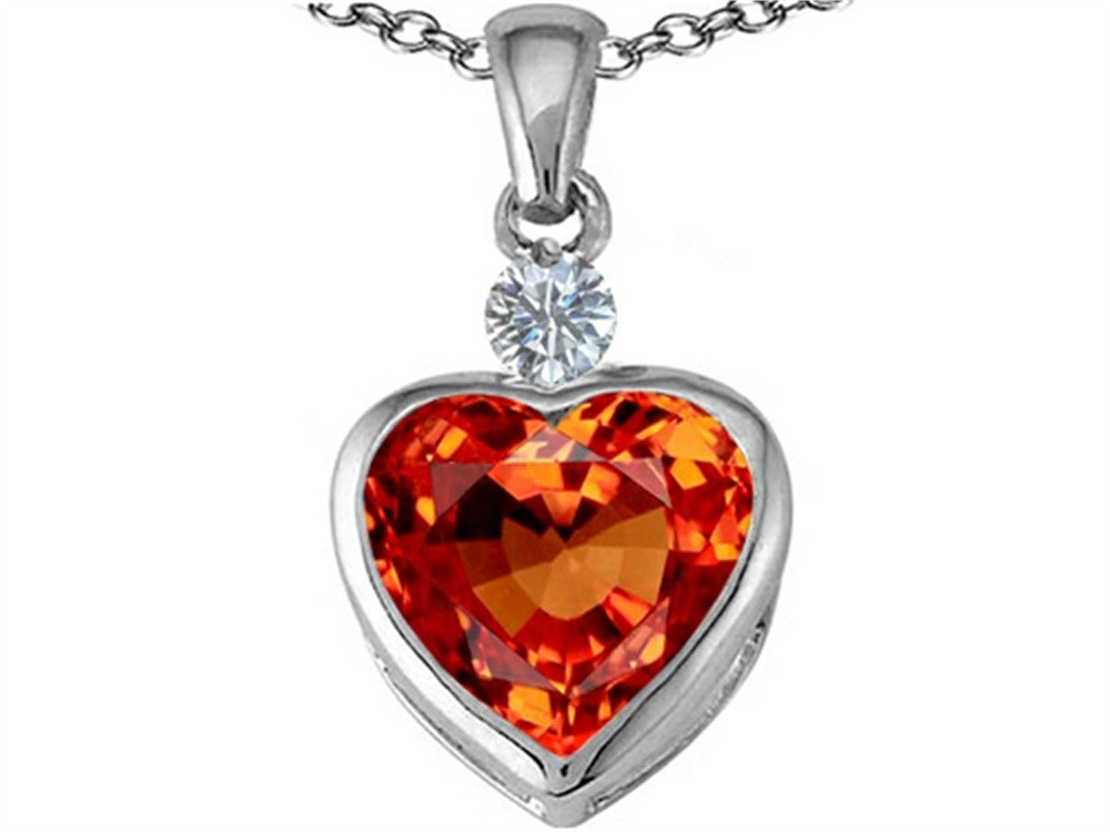 Star K 10mm Heart-Shape Simulated Orange Mexican Fire Opal Heart Pendant Necklace Sterling Silver