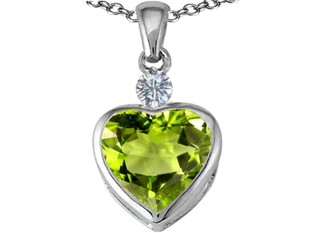 Star K 10mm Heart-Shape Simulated Peridot and Cubic Zirconia Heart Pendant Necklace Sterling Silver