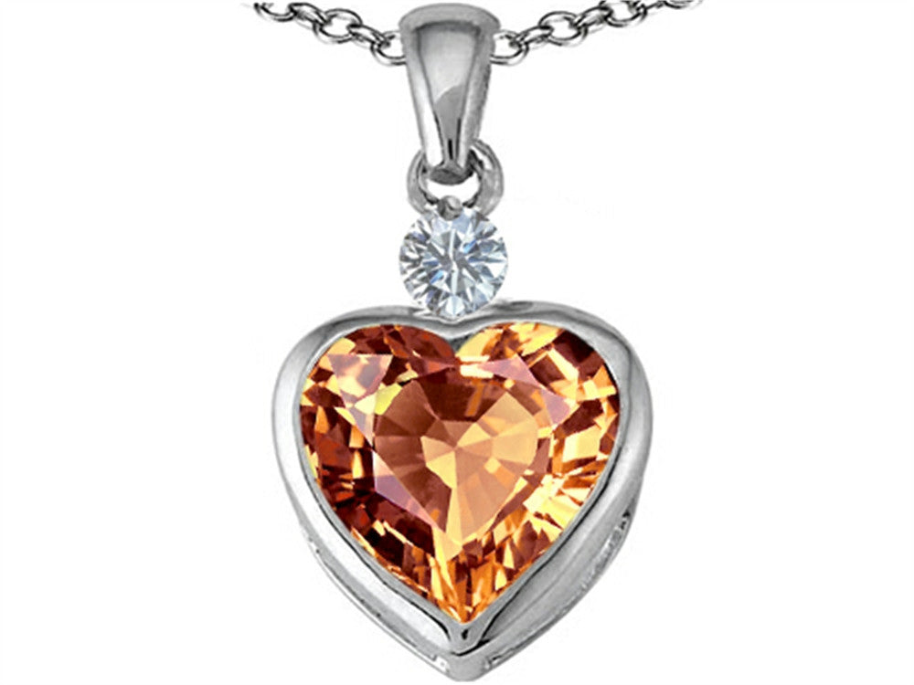Star K 10mm Heart-Shape Simulated Imperial Yellow Topaz Heart Pendant Necklace Sterling Silver