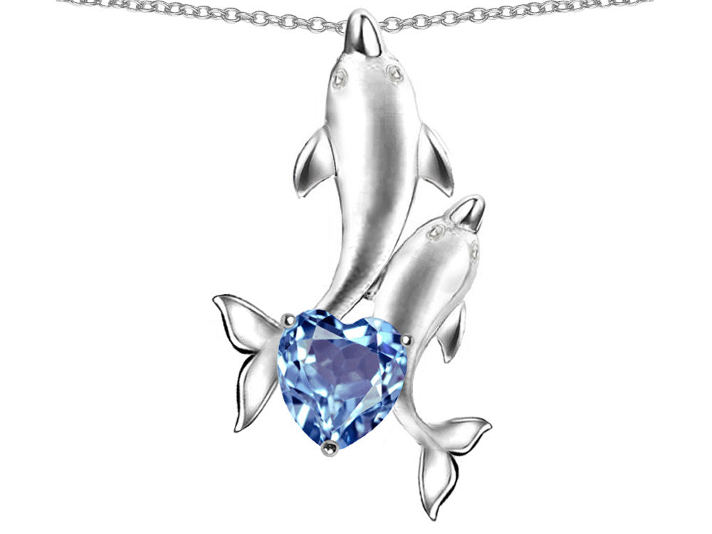 Star K 7mm Heart-Shape Simulated Aquamarine Two Swimming Dolphin Pendant Necklace Sterling Silver