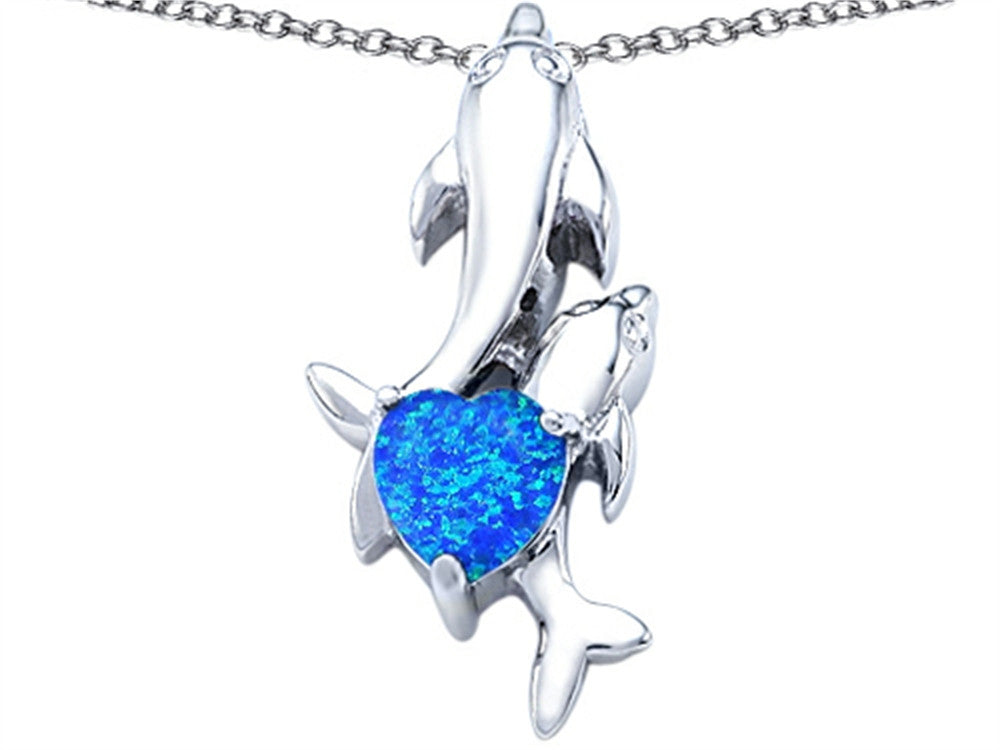 Star K 7mm Heart-Shape Blue Created Opal Two Swimming Dolphin Pendant Necklace Sterling Silver
