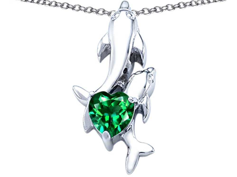 Star K 7mm Heart-Shape Simulated Emerald Two Swimming Dolphin Pendant Necklace Sterling Silver