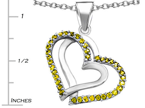 Star K Round Simulated Citrine Double Hearts Pendant Necklace Sterling Silver