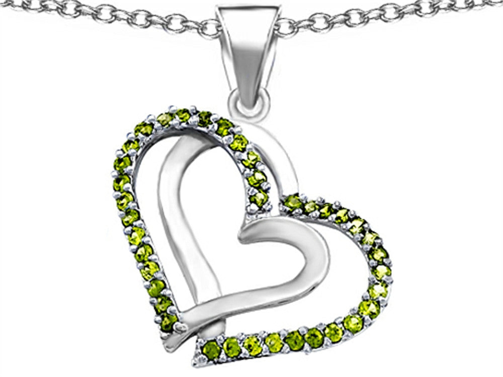 Star K Round Simulated Peridot Double Hearts Pendant Necklace Sterling Silver