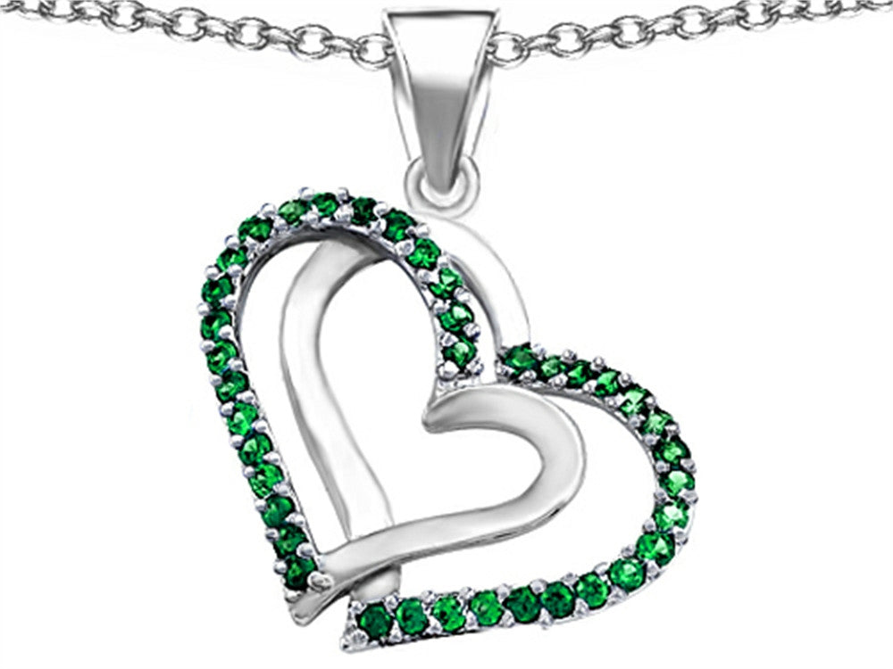 Star K Round Simulated Emerald Double Hearts Pendant Necklace Sterling Silver