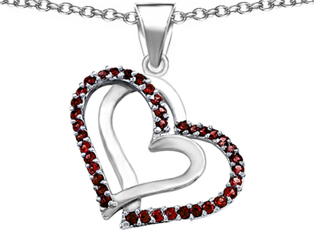 Star K Round Simulated Garnet Double Hearts Pendant Necklace Sterling Silver