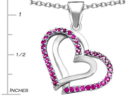 Star K Round Created Pink Sapphire Double Hearts Pendant Necklace Sterling Silver