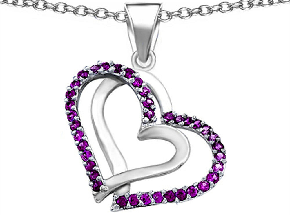 Star K Round Simulated Amethyst Double Hearts Pendant Necklace Sterling Silver