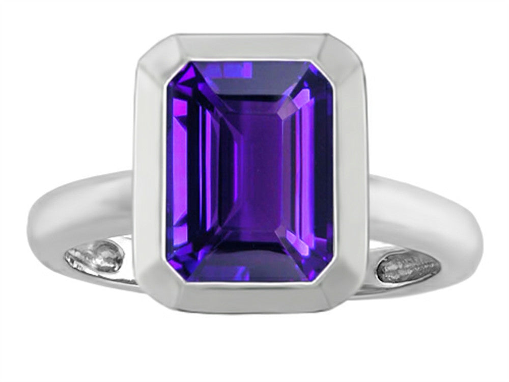 Star K Emerald Cut Octagon Solitaire Ring with Simulated Amethyst Sterling Silver Size 8